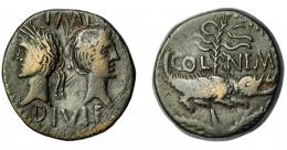 134  -  IMPERIO ROMANO. PERIODO DE JULIO CÉSAR A AUGUSTO. AUGUSTO. As. Colonia Nemausus (10 a.C.-14 d.C.). A/ Bustos opuestos de Augusto y Agripa; IMP /DIVI F. R/ Cocodrilo encadenado a palmera; en el campo COL-NEM. RIC-158. MBC-. Ex Áureo, 26-4-1994, lote 2283.