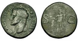 135  -  IMPERIO ROMANO. PERIODO DE JULIO CÉSAR A AUGUSTO. AGRIPA. As. Roma (37-41 d.C.). A/ Cabeza a izq. con la corona real. R/ Neptuno  a izq. con pequeño delfín y tridente, a los lados, S-C. AE 11,41 g. 28,46 mm. RIC-58. MBC-/BC+.