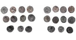 136  -  IMPERIO ROMANO. Lote de 11 denarios de Faustina II a Julia Mamea. BC-/MBC.