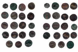 138  -  IMPERIO ROMANO. Lote de 19 ases y dupondios. RC/MBC-.