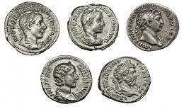 143  -  IMPERIO ROMANO. Lote de 5 denarios: Trajano, Septimio Severo, Julia Mamea, Alejandro Severo y Gordiano III. MBC+/MBC-.
