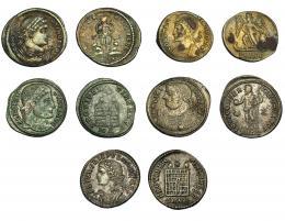 144  -  IMPERIO ROMANO. Lote de 5 follis: Constantino I (3); Crispo (1), Licinio I. MBC+/MBC-.