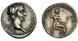 146  -  IMPERIO ROMANO. TIBERIO. Denario. Lugdunum (36-37 d.C.). A/ Cabeza laureada a der.; TI CAESAR (DIVI AVG F) AVGVSTVS. R/ Livia entronizada a der. con rama y cetro, en trono con patas ornamentadas y sobre línea; PONTIF MAXIM. AE 3,63 g. 17,56 mm. RIC-30. MBC+/EBC-.