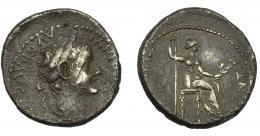 147  -  IMPERIO ROMANO. TIBERIO. Denario. Lugdunum (36-37). R/ Livia sentada a der., patas del trono adornadas. Ae 3,41 g. 18,28 mm. RIC-30. Golpe. Pátina gris rugosa. Descentrada. MBC-.