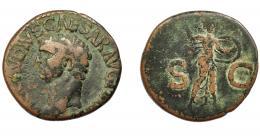 150  -  IMPERIO ROMANO. CLAUDIO I. As. Roma (41-42 d.C.). R/ Minerva  a der. con lanza y escudo; SC. AE 9,92 g. 27,47 mm. RIC-100. BC/BC-.