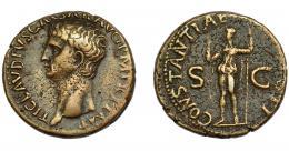 151  -  IMPERIO ROMANO. CLAUDIO I. As. Roma (42-43 d.C.). A/ Cabeza desnuda a izq. R/ Constantia a izq. con lanza y alzando mano der.; CONSTANTIAE (AVGVSTI), S-C. AE 11,81 g. 27,77 mm. RIC-111. MBC/MBC-.