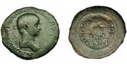 153  -  IMPERIO ROMANO. NERÓN. Sestercio. Tracia (51-54 d.C.). A/ Busto drapeado a der.; NERONI CLAVDIO DRVSO GERMA(NICO COS DESIG). R/ EQ(VEST)ER/OR DO/PRINCIPI/IVVENT, en cuatro líneas en escudo, detrás lanza vertical. AE 16,33 g. 34,47 mm. RIC-108. BC+.