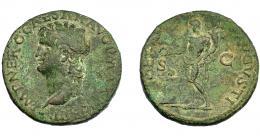 154  -  IMPERIO ROMANO. NERÓN. As. Lugdunum (66). A/ Cabeza laureada a izq., globo en el extremo inferior. R/ Genio  a izq. con pátera y cornucopia, debajo altar; GENIO AVGVSTI, S-C. Ae 10,39 g. 27,96 mm. RIC-534. MBC-.