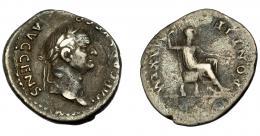 156  -  VESPASIANO. Denario. Roma (73 d.C.). A/ Busto laureado a der. R/ Vespasiano a der. con cetro y rama; PONTIF MAXIM. AR 3,1 g. 20,3 mm. RIC-65. MBC-/BC+.