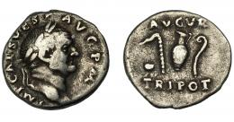 157  -  IMPERIO ROMANO. VESPASIANO. Denario. Roma (72 d.C.). R/ Instrumentos pontificales; AVGVR TRI POT. AR 3,02 g. 17,63 mm. RIC-359. MBC-.