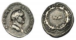 158  -  IMPERIO ROMANO. VESPASIANO. Denario. Roma (73 d.C.). A/ Cabeza laureada a der. R/ S P Q R dentro de corona cívica. AR 3,03 g. 19,32 mm. RIC-66b. MBC/MBC-.