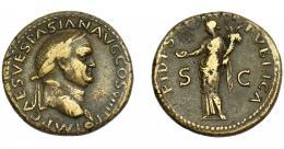 159  -  IMPERIO ROMANO. VESPASIANO. Dupondio. Lugdunum (77-78 d.C.). A/ Cabeza laureada a der., debajo globo. R/ Fides  a izq. con pátera y cornucopia; FIDES PVBLICA, S-C. AE 11,2 g. 28,01 mm. RIC-1210. MBC-.