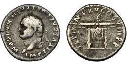 160  -  IMPERIO ROMANO. TITO. Denario. Roma (80 d.C.). A/ Cabeza laureada a izq. R/ Trono de Júpiter y Juno coronado por haz de rayos alado; TR P IX IMP XV COS VIII P P. AR 3,26 g. 17,94 mm. RIC-120. MBC-.