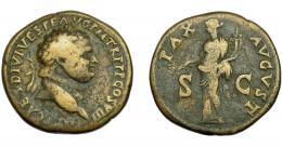 161  -  IMPERIO ROMANO. TITO. Sestercio. R/ Pax drapeada a izq. con rama de olivo y cornucopia, SC; PAX AVGVST. AE 25,32 g. 34,5 mm. RIC-498. MBC-/BC+.