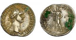 162  -  IMPERIO ROMANO. DOMICIANO. Denario. R/ Minerva con lanza a izq.; IMP VIIII COS XI. AR 3,48 g. 21,01 mm. RIC- 329. MBC+/MBC. Concreciones.
