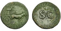 163  -  IMPERIO ROMANO. JULIA TITI (bajo Domiciano). Sestercio. Roma (92-94 d.C.). A/ Carpentum a der. tirado por dos mulas; DIVAE IVLIAE AVG DIVI TITI F S P Q R. R/ S C, alrederor IMP CAES DOMIT AVG GERM (COS XVI CENS PER P P). AE 22,88 g. 33,67 mm. RIC-717. MBC-/BC+.
