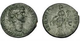 165  -  IMPERIO ROMANO. NERVA. As. Roma (96-98 d.C.). A/ Cabeza laureada a der. R/ Aequitas a izq. con balanza y cornucopia; AEQVITAS AVGVST, S-C. AE 9,65 g. 26,93 mm. RIC-77. MBC-/MBC.