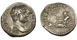 174  -  IMPERIO ROMANO. ADRIANO. Denario. Roma (134-138). A/ Cabeza a der.; HADRIANVS AVG COS III P. P. R/ Hispania recostada a izq. con rama de olivo, delante conejo; HISPANIA. AR 3,61 g. 18,01 mm. MBC+/MBC. Hoja en anv. RIC-305. Ex Vico, 26-3-1998, lote 256.