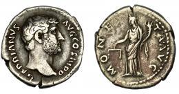 176  -  IMPERIO ROMANO. ADRIANO. Denario. Roma (136). R/ Moneta  a izq., con balanza y cornucopia; MONETA AVG. AR 3,28 g. 18,28 mm. RIC-2224. MBC-/BC+.