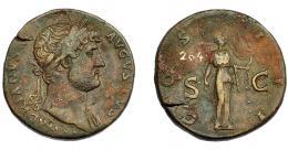 177  -  IMPERIO ROMANO. ADRIANO. Sestercio. R/ Diana a der., con arco y flechas, en ley. COS III SC. AE 25,82 g. 31,92 mm. RIC-738. MBC/MBC-. Pátina marrón. Grieta.
