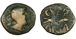 18  -  HISPANIA ANTIGUA. CUNBARIA. Semis. A/ Cabeza masculina a der., detrás S. R/ Atún a der., encima CVNB debajo ARIA. 18,3 mm. 3,49 g. I-878. ACIP-2620. BC/BC+. Escasa.