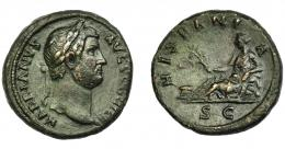 181  -  IMPERIO ROMANO. ADRIANO. As. Roma (134-138 d.C.).A/ Busto a der. R/ Hispania recostada a izq. con rama de olivo; HISPANIA, en exergo SC. RIC-1668. MBC. Campos repasados. Pátina verde oscuro. MBC. Ex Áureo, 5-3-1997, lote 2057.