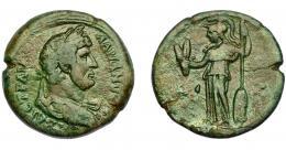 182  -  IMPERIO ROMANO. ADRIANO. AE 34. Alejandría (132-133 d.C.). A/ Busto laureado y drapeado a der. R/ Minerva a izq. con espigas y lanza. Año de reinado LIZ (17). AE 26,11 g. 34,55 mm. RPC-5825. BC+. Fina grieta.