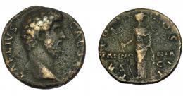 183  -  IMPERIO ROMANO. AELIO (bajo Adriano). As (173). R/ Pannonia de frente con vexillum y manto; TR PT COS II, en campo PANNONIA. AE 8,24 g. 24,96 mm. RIC-2664. BC+.