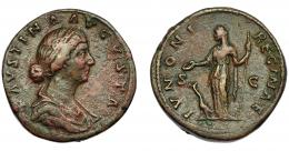 188  -  IMPERIO ROMANO. FAUSTINA LA MENOR (esposa de Marco Aurelio). Sestercio. Roma (161-175). A/ Busto drapeado a der.; FAVSTINA AVGVSTA. R/ Juno  a izq. con pátera y cetro, a sus pies, pavo; IVNONI REGINAE, S-C. AE 25,26 g. 32,47 mm. RIC-1651. MBC-. Pátina rojiza.