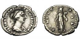 189  -  IMPERIO ROMANO. FAUSTINA LA MENOR (bajo Antonino Pío). Denario. Roma (145-147). R/ Concordia de frente con cornucopia; CONCORDIA. AR 3,56 g. 20,56 mm. RIC-500b. BC+.