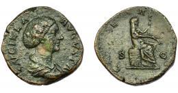 190  -  IMPERIO ROMANO. LUCILLA (esposa de Marco Aurelio). Sestercio. Roma (164-170). Busto didemado y drapeado a der; LVCILLA AVGVSTA. R/ Ceres sentada a der. sobre cesta con espigas y antorcha; CERES. AE 21,39 g. 30,89 mm. RIC-1728. BC/BC+.