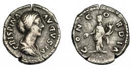 193  -  IMPERIO ROMANO. CRISPINA. Denario. Roma (178-182). R/ Concordia a izq. con pátera y cornucopia; CONCORDIA. AR 3,24 g. 19,28 mm. RIC-278. MBC-.