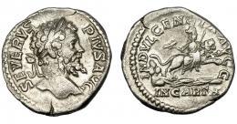 194  -  IMPERIO ROMANO. SEPTIMIO SEVERO. Denario. Roma (204). R/ Dea Caelestis con haz de rayos y cetro, cabalgando en león sobre el agua; INDVLGENTIA AVGG, en exergo IN CARTH. AR 2,89 g. 18,38 mm. RIC-266. MBC.