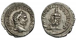 199  -  IMPERIO ROMANO. CARACALLA. Denario. Roma (215). R/ Esculapio con serpiente enroscada en su vara, a sus pies globo; P M TR P XVIII COS IIII P P. AR 2,68 g. 19,5 mm. RIC-253. MBC+/MBC.