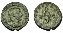 203  -  IMPERIO ROMANO. GORDIANO III. As. Roma (241-243). R/ Securitas a izq. con cetro y apoyada en columna; SECVRIT PERPET, S-C. AE 11,46 g. 25,91 mm. RIC-335b. MBC-/MBC.