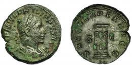 205  -  IMPERIO ROMANO. FILIPO I. As. Roma (248). Conmemoración del 1000 aniversario de Roma. R/ Columna con inscripción COS/III. En dos líneas; SAECVLARES AVGG, SC. AE 10,68 g. 25,43 mm. RIC-162b. Fina grieta. MBC.
