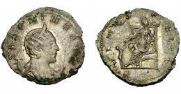207  -  IMPERIO ROMANO. SALONINA. Antoniniano. Lugdunum (257-258). R/ Venus velada y drapeada, sentada a izq. con manzana y cetro, a sus pies cautivo; VENVS FELIX. VE 3,87 g. 21,42 mm. RIC-7. MBC-/MBC. R.B.O.