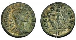 208  -  IMPERIO ROMANO. AURELIANO. Denario. Roma (275). R/ Victoria con corona y palma a izq., cautivo a sus pies; VICTORIA AVG. AR 2,3 g. 18,65 mm. RIC-73. MBC.