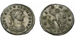 209  -  IMPERIO ROMANO.  AURELIANO. Antoniniano. Ticinum (274). R/ Sol avanzando a izq., a sus pies dos cautivos; ORIENS AVG, exergo QXXT. VE 3,52 g. 23,21 mm. RIC-151. MBC-.