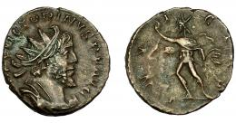 211  -  IMPERIO ROMANO. VICTORINO. Antoniniano. Colonia (269-271). R/Sol avanzando a izq., con una mano levantada y látigo; INVICVS. VE 2,85 g. 19,39 mm. RIC-114. MBC-/BC+.