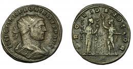 212  -  IMPERIO ROMANO. FLORIANO. Antoniniano. Serdica (276). R/ Providentia con insignias a der., a der. Sol, con mano levantada y orbe; PROVIDEN DEOR. VE 3,54 g. 21,77 mm. RIC-110. BC+.