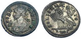 214  -  IMPERIO ROMANO. PROBO. Antoniniano. Roma (281). R/ Sol en cuadriga a izq.; SOLI INVICTO, exergo marca de ceca R-haz de rayos- G. VE 3,81 g. 21,75 mm.RIC-203. MBC-/MBC+.