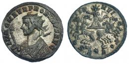 215  -  IMPERIO ROMANO. PROBO. Antoniniano. Roma (277). R/ Sol en cuadriga frontal; SOLI INVICTO, en exergo marca de ceca R*B. VEe 3,41 g. 21,5 mm. RIC-204. MBC+/MBC. R.P.O.