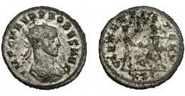 219  -  IMPERIO ROMANO. PROBO. Antoniniano. Cizycus. R/ Probo con cetro rematado en águila recibe globo de Júpiter frente a él; CLEMENTIA TEMP, Q/XXI. VE 3,90 g. 22,2 mm. RIC-905. MBC. P.O.