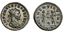 220  -  IMPERIO ROMANO. PROBO. Antoniniano. Cizycus. R/ Probo con cetro rematado en águila recibe globo de Júpiter frente a él; CLEMENTIA TEMP, Q/XXI*. VE 3,76 g. 22,4 mm. RIC-905. EBC-/MBC+.