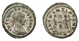 221  -  IMPERIO ROMANO. PROBO. Antoniniano. Cizycus. R/ Probo con cetro rematado en águila recibe globo de Júpiter frente a él; CLEMENTIA TEMP, P/XXI*. VE 3,82 g. 24,1 mm. RIC-905. MBC. P.O.