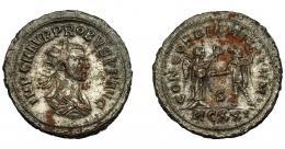 222  -  IMPERIO ROMANO. PROBO. Antoniniano. Cyzicus (276-282). R/ Probo con lanza a izq. frente a Victoria que le tiende una corona; CONCORDIA MILITVM, T/MCXXI. VE 4,92 g. 23,8 mm. RIC-907. MBC+.