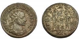 223  -  IMPERIO ROMANO. CARO. Antoniniano. Antioquía (282-283). R/ Caro a der., con cetro recibiendo globo de Júpiter; VIRTVS AVGGG; marca de ceca ED/ XXI. VE 4,39 g. 21,03 mm. RIC-125. MBC-.
