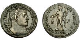 226  -  IMPERIO ROMANO. DIOCLECIANO. Follis. Treveris. R/ Genio a izq. con pátera y cornucopia; GENIO POPV-LI ROMANI; marca de ceca S-F/ IITR. AE 10,03 g. 27,55 mm. RIC-519a. MBC-.