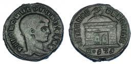 229  -  IMPERIO ROMANO. RÓMULO (hijo de Majencio). Follis. Acuñación póstuma. Ostia (309-312). A/ Cabeza a der.; DIVO ROMVLO N V BIS CONS. R/ Templo con cúpula rematada en águila; AETERNA MEMORIA; exergo MOSTS. AE 6,38 g. 24,3 mm. RIC-34. MBC-.